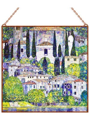 Gustav Klimt - Church In Cassone üvegkép
