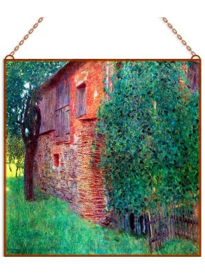 Gustav Klimt - Farmhouse At Kammer üvegkép