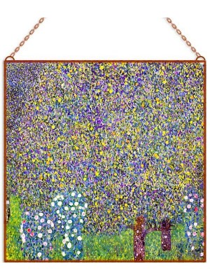 Gustav Klimt - Rose Bushes under the Trees üvegkép