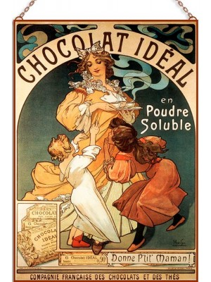 Alphonse Mucha - Chocolate Ideal üvegkép
