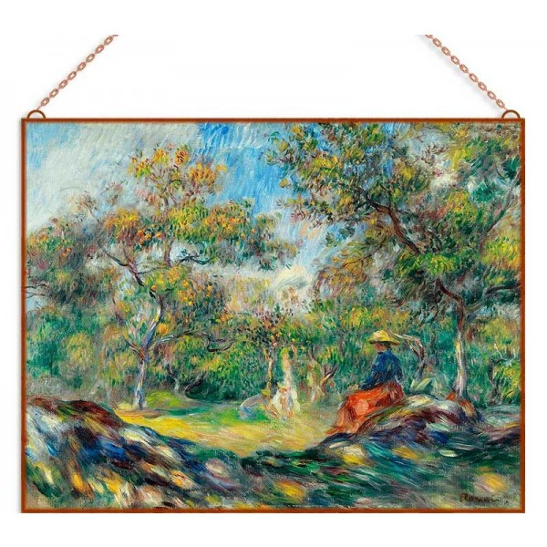 Renoir-Landscape with Woman üvegkép