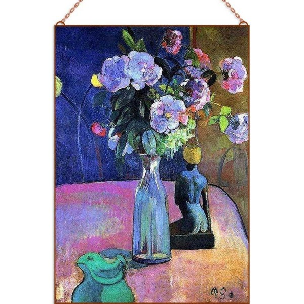 Paul Gauguin - Roses and statuette üvegkép