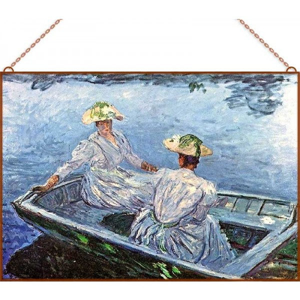 Monet - The Blue Row Boat üvegkép