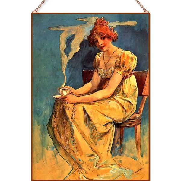 Alphonse Mucha - Women with Coffee Cup üvegkép